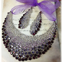 Bridal jewelry set, Wedding jewelry set, Bridal bib necklace earrings, purple crystal necklace statement,crystal jewelry set