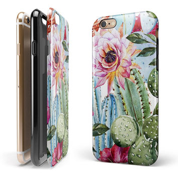 Vintage Watercolor Cactus Bloom iPhone 6/6s or 6/6s Plus 2-Piece Hybrid INK-Fuzed Case