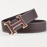 Hermes Fashion New Letter Buckle Leisure Leather Belt Men Coffee