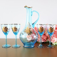 Mid-Century Romanian Blue Glass Decanter Set With Glasses