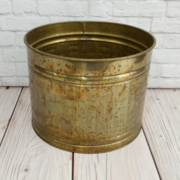 Vintage Round Brass Trash Can Magazine Holder Planter