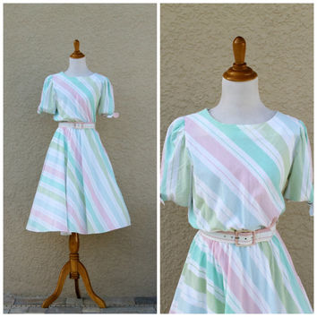 Vintage 80s Pastel Striped Midi Belted Dress By S.L. Petites// Summer Spring Day Dress// Cotton Dress