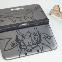 Mega Charizard X inspired vinyl decal, sticker for 3ds XL or 3ds. (double sided)