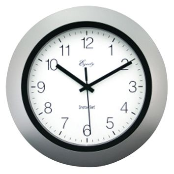 "Equity By La Crosse 10"" Silver Insta-set Wall Clock"