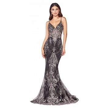 Fitted Floor Length Black Dress Glitter Lace Print Illusion Bodice