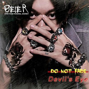 Beier 316L Stainless Steel Scorpion Fashion Cool Exaggerated Personality various colour skull Eye of Devil Man's Ring  LR036