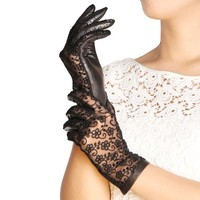 WARMEN Gothic Medival Lolita Ladies Genuine Nappa Leather&lace Unlined Gloves (L, Black)
