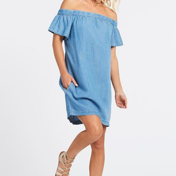 Off Shoulder Denim Dress by KUT FROM THE KLOTH