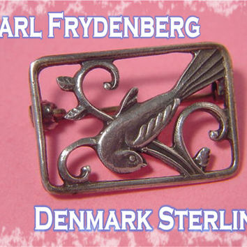 Bird On Branch Sterling Silver Brooch ~ COF ~ Carl Ove Frydensberg ~ Copenhagen Denmark  - FREE SHIPPING