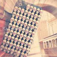 iphone 5 cases, punk iphone 4s case iphone cover skin skull heads iphone 4 case - handmade rivet iphone 4s case