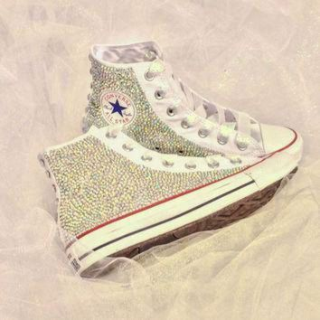 DCCK1IN rhinestone converse bride custom bedazzled converse shoes quince era