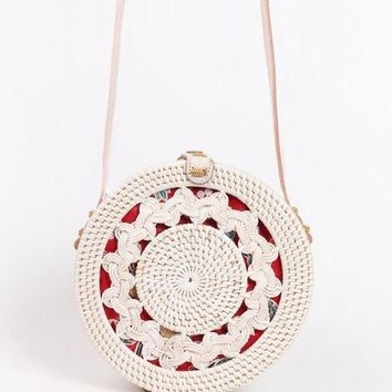 Hallow Out White Circle Rattan Straw Bag