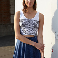FOREVER 21 Free Spirit Crop Top White/Black