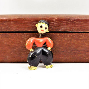 Dutch Boy Trembler Brooch, Chippy, Bobble Head, Netherlands, Vintage Brooch