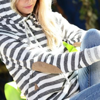 Heather Gray Stripe Cowl Neck Elbow Patch Hoodie