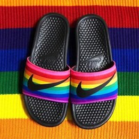 Nike Summer Popular Women Men Rainbow Flats Sandals Slippers Beach Shoes