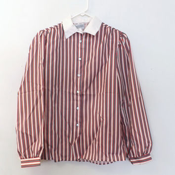 Vintage 1970s 80s Gray Red Striped Workable Separates Blouse Boho Shirt Pioneer Top Retro Boho Mod School Girl Hipster Button up Nautical
