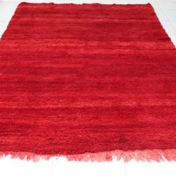 Handmade solid Red rug 6.5ft x 9.8ft, AUTHENTIC Moroccan Solid Red Tribal Kilim Moroccan Carpet Hand Knotted Rug BENIOURAIN rug Morocco rug,