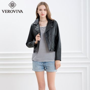 VEROVIVA Women Autumn Black PU Leather Bomber Jacket Winter Moto & Biker Jacket Basic Zipper Female Outwear Coats Streetwear