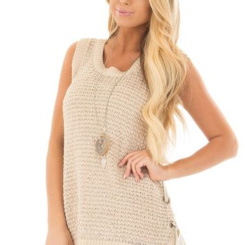 Taupe Knit Tank Top with Lace Up Detail