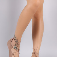 Qupid Suede Round Toe Lace Up Ballet Flat
