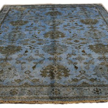 8x10 Overdyed Light Blue Bamboo Silk Wool Rug 2757