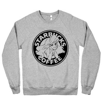 The Little Siren Pullover Sweater Starbucks Parody Little Mermaid Ariel - American Apparel Unisex Sizes S, M, L, XL