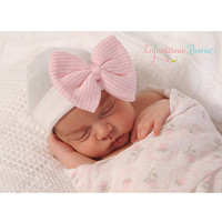 White & Light Pink Bow Beanie
