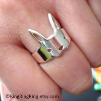 925 Adjustable solid sterling silver ring jewelry, Cute animal rabbit ring, Bunny legs wrap around your finger, (Matte or Shine)