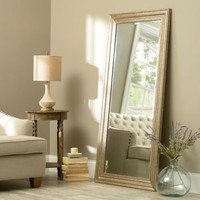 Antiqued Silver Framed Mirror, 65x32