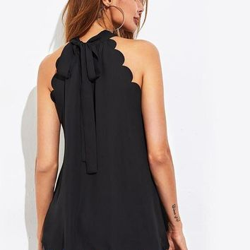 Black Scallop Trim Self Tie Halter Blouse With Bow Ladies Sleeveless Plain Top Work Wear Blouses