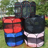 """45"""" Pet Dog Cat Playpen Tent Portable Exercise Fence Kennel Cage Folding Crate"""