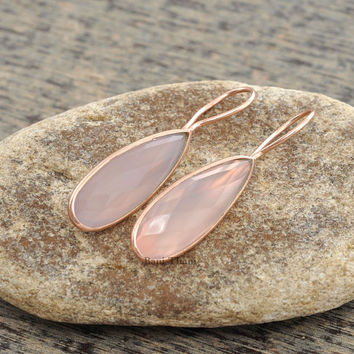 Gemstone Earrings, Silver Earrings, Pink Chalcedony Faceted Pear Shape Micron Rose Gold Plated Sterling Silver Dangle Earrings - #1432