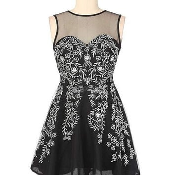 FINEJO Womens Short Mini Evening Party Lace Sexy Mesh Fit and Flare Dress = 1904416708