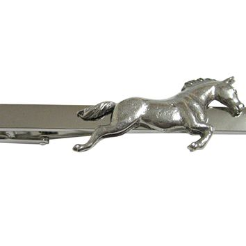 Silver Toned Textured Horse Square Tie Clip