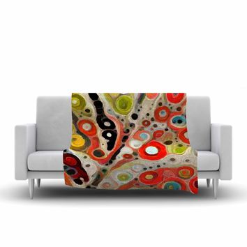 "Laura Nicholson ""Fall Color"" Orange Olive Nature Fantasy Illustration Digital Fleece Throw Blanket"