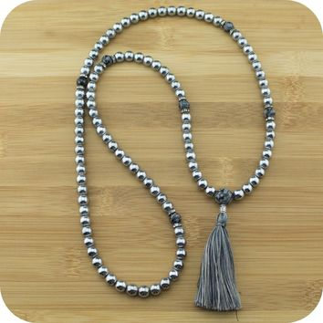 Silver Hematite Mala Beads Necklace with Snowflake Obsidian