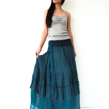 NO.36   Deep Teal Cotton Tiered Peasant Skirt