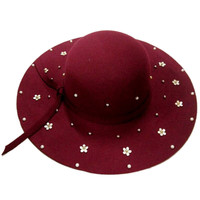 Burgundy Beaded Floral Knot Band Fedora Hat