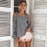 Plaid Strapless Long Sleeve Butterfly Tops Shirt [10597782407]