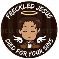 "Attack on Titan - ""Freckled Jesus Died for Your Sins"" button"