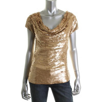 INC Womens Paillettes Cowl Neck Pullover Top
