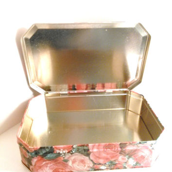 Free Shipping Vintage English Cookie Tin Roses
