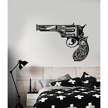 Vinyl Wall Decal Vintage Revolver Gun Lady's Pistol Weapons Stickers (2879ig)