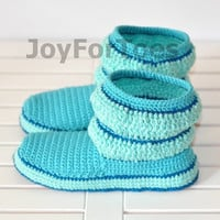 Crochet Boots, Home Women Slippers, Turquoise Stripes, Handmade shoes, Holiday gift for her, Custom made