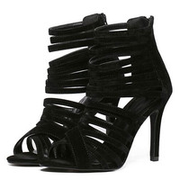 Black Suedette Cross Strappy Gladiator Heeled Sandals