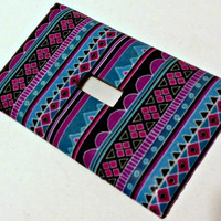 FREE SHIPPING--Single Light Switch Plate Cover--Neon Tribal Print--Geometric