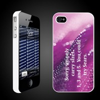"Mean Girls Movie Themed ""We only carry 1, 3, and 5. You could try Sears""- White Protective iPhone 4/iPhone 4S Hard Case"