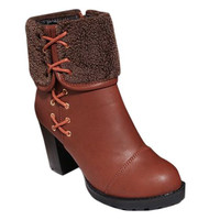 Fold Over Design Criss-Cross Lace Up Boots with Chunky Heel