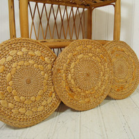 Vintage Set of 3 Round Rattan Woven Trivets - Retro Natural Grass Hot Pads Collection - Trio of Hand Crafted Trays - 3 Simple Wall Hangings